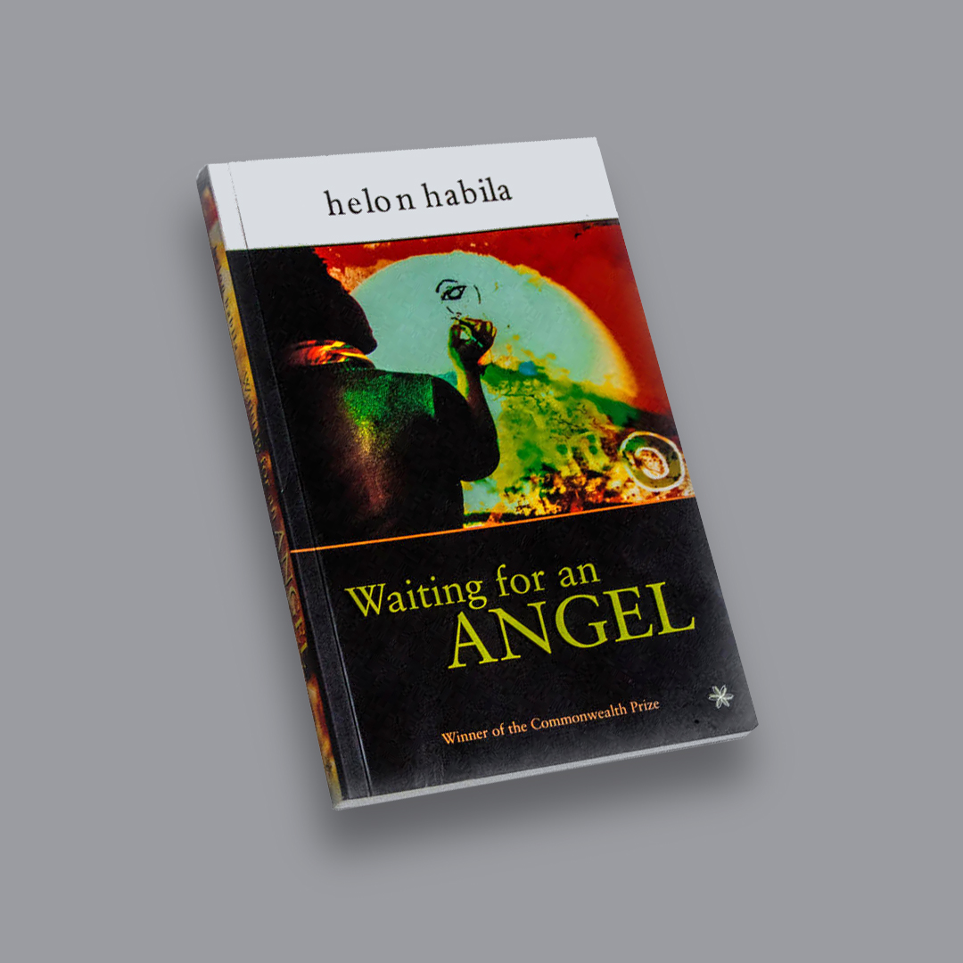 Image of Helon Habila's multi-coloured book Waiting for an Angel resting diagonally on a grey surface.
